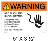 Warning Arc Flash and Shock Hazard. Appropriate PPE and Tools Required While Working On this Equipment - Item #05-509