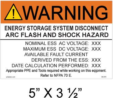 "Warning Energy Storage System Disconnect Arc Flash and Shock Hazard- Custom Label 5"" X 3 1/2""- Item # 05-670"