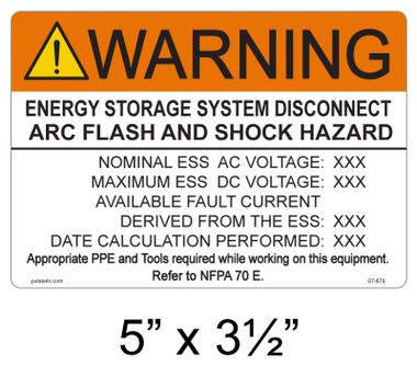 Warning Energy Storage System Disconnect Arc Flash and Shock Hazard- Custom Placrd- 07-670