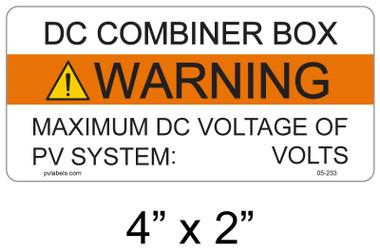 DC Combiner Box Warning Label - write in - Item #05-233