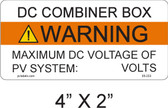 DC Combiner Box Warning Label - write in - Item #05-233