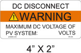 DC Disconnect Warning Label - write in - Item #05-234