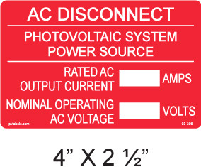 AC Disconnect Label - write in - Item #03-306