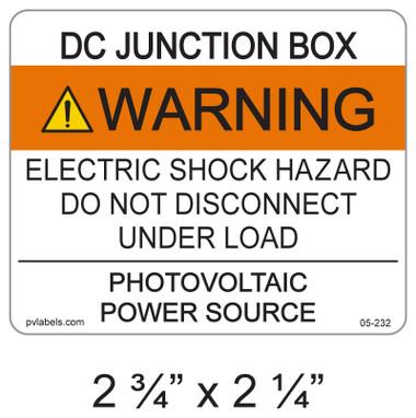 """PV Solar Warning Label - 2.75"""" x 2.25"""" - ANSI - Item #05-232"""