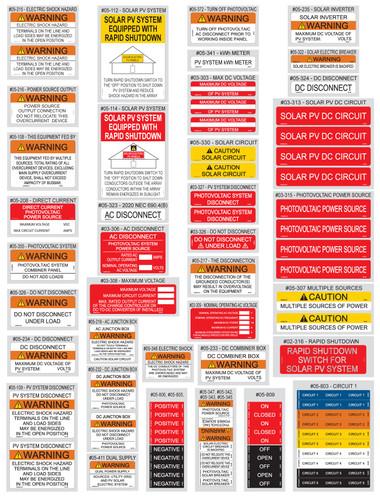 PV Labels 05-520- 2020 NEC Solar Warning Labels Kit