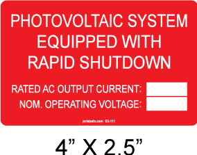 Photovoltaic System Equipped with Rapid Shutdown Label - write in - Item #03-111