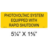 Photovoltaic System Equipped with Rapid Shutdown Label - Item #05-317