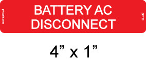 Battery AC Disconnect Label - Item #03-367