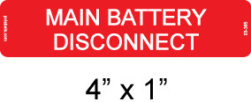 Main Battery Disconnect Label - Item #03-365