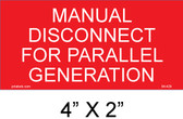 Manual Disconnect for Parallel Generation Placard, 04-429