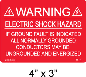 "PV Solar Warning Label - 4"" x 3"" - 3/16"" Letters - Item #03-101"