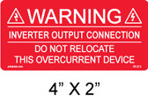 "Solar Warning Label - PV Labels # 03-212 - NEC 705.12(7) - Minimum 3/16"" Letters"
