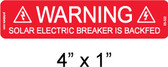 PV Solar Warning Label - Solar Breaker Backfed - Item #03-322