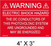 "Solar Warning Placard - 4"" x 3"" - Item #04-104"