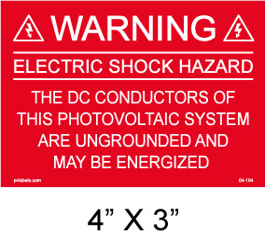 "Solar Warning Placard - 4"" x 3"" - Item #04-104"
