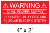 "Solar Warning Placard - 4"" x 2"" - Item #04-211"
