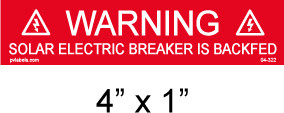 Solar Warning Placard - Item #04-322
