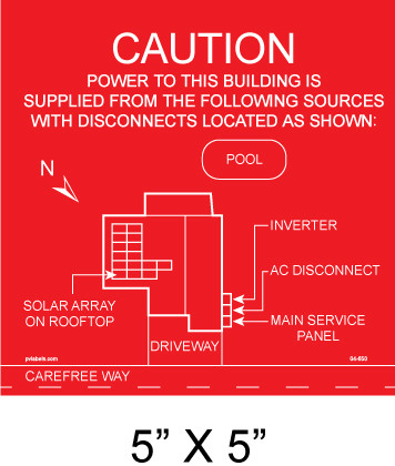 Solar Placards Facility Map Nec 690 56 A B Pv Labels