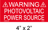 "Solar Warning Placard - 4"" x 2"" - Item #04-214"