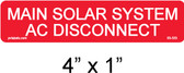 "PV Main Solar System AC Disconnect Label - 1/4"" Letters - Item #03-333"
