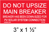 "Solar Warning Placard - 3"" x 1 1/2"" - PV Labels #04-336"