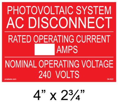 """Solar Warning Placard - 4"""" x 2 3/4"""" - Custom - Item #04-622"""