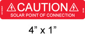 "PV Solar Caution Label - 4"" x 1"" - 1/4"" Letters - Item #03-338"
