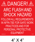 "Solar Warning Placard - 4"" x 4"" -PV Labels  #04-361"