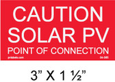 "Solar Warning Placard - 3"" x 1 1/2"" - Item #04-365"