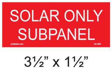 "Solar Warning Placard - 3 1/2"" x 1 1/2"" - Item #04-366"