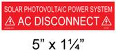 "Solar Warning Placard - 5"" x 1 1/4"" - Item #04-363"