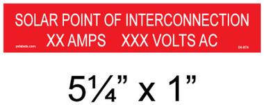 """Solar Warning Placard - 5 1/4"""" x 1"""" - Custom - Item #04-674"""