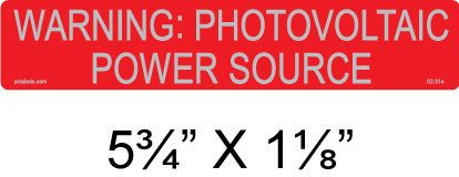 100 PACK Reflective PV Solar Warning Label WARNING PHOTOVOLTAIC POWER SOURCE