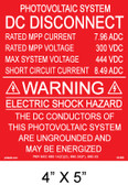 "Solar Warning Placard - 4"" x 5"" - Item #04-690"