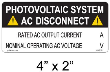 "PV Solar Warning Label - 3/16"" Letters - Item #05-210"