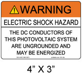 "Solar Warning Label - 4"" X 3"" - 3/16"" Letters - Item #05-104"