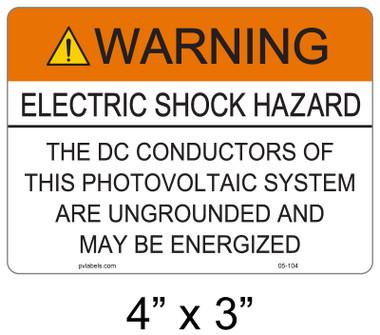 "Solar Warning Label - 4"" X 3"" - 3/16"" Letters - Item #05-104"