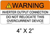 "Solar Warning Label - 4"" X 2"" - 3/16"" Letters - Item #05-212"
