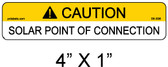 "Solar Warning Label - 4"" X 1"" - 3/16"" Letters - Item #05-338"