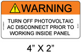 "Solar Warning Label - 4"" X 2"" - 3/16"" Letters - Item # 05-372"