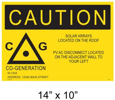 "Solar Warning Placard - 14"" x 10"" - Item #14-401"