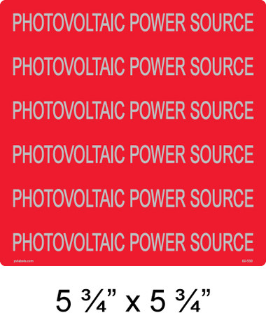 Solar Warning Label - Reflective - Photovoltaic Power Source - Item #02-530