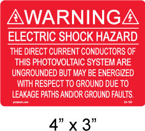 "PV Solar Warning Labels - 4"" x 3"" - 1/8"" Letters - Item #03-105"