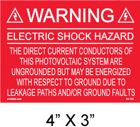 "Solar Warning Placard - 4"" x 3"" - Item #04-105"