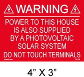 "Solar Warning Placard - 4"" x 3"" - Item #04-106"