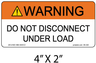 "Solar Warning Label - 4"" X 2"" - 1/4"" Letters - Item #05-326"