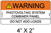"Solar Warning Label - 4"" X 2"" - 1/4"" Letters - Item #05-355"