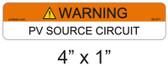 Warning PV Source Circuit Label - Item 05-377