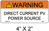 "Solar Warning Label - 4"" X 2"" - 1/4"" Letters - Item #05-387"