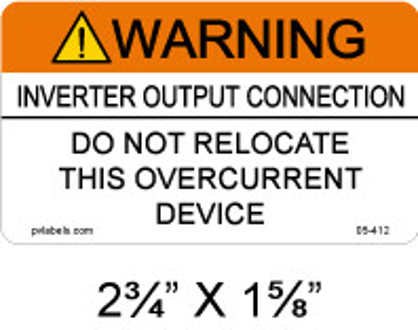 "Solar Warning Label - 2 3/4"" x 1 5/8"" - 3/16"" Letters - Item #05-412"